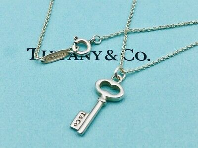 "Authentic Tiffany Necklace Pendant Heart Key Sterling Silver 16"" O44"