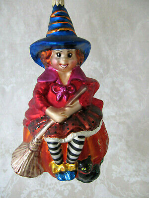 LARGE Christopher Radko Halloween Ornament Sit A Spell Witch Broomstick Cat