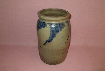 Antique 19th C Stoneware Decorated Small Pennsylvania Canning Jar Crock 9""