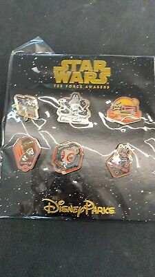 STAR WARS Disney Parks set of 6 collectors pins A Force Awakens New in pkg NM/M