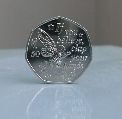 """""""2019 Tinkerbell Uncirculated 50p coin, from the Peter Pan Collection  IOM"""
