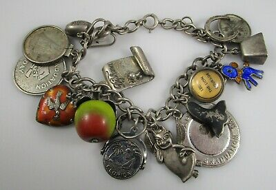 Charm Bracelet Sterling Silver Vintage Enamel Puffy Heart Apple 17 Charms 44.7g