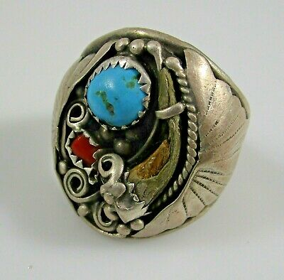Old Pawn Ring Turquoise Coral Vintage Silver Size 10.75 Native Southwest 10.9g