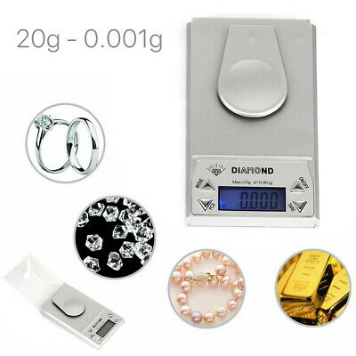 20g 0.001 Digital Pocket Scales Gold Jewellery Precision Electronic Micro mg Lab
