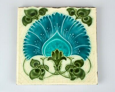 Antique 1900s Art Nouveau Brook Tile Co. fan shape flower pottery tile.