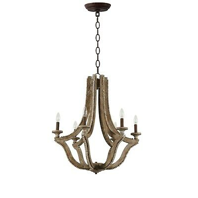 Halen Elton French Country Empire rustic wood beads antqiue Chandelier shabby
