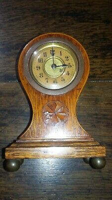 Antique Victorian Inlaid Wood Table Clock With Enamel Dial In Working Order