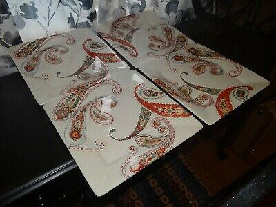 "Tabletops Gallery Multi Paisley Set of 4 Dinner Plates 10 5/8"" Square"