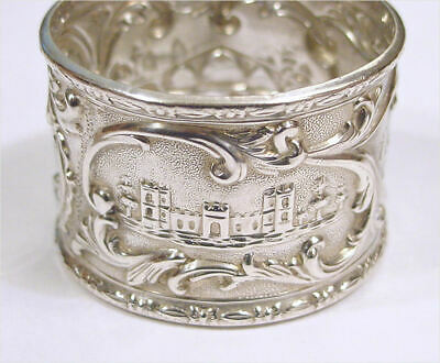 Unusual Antique Embossed Scenic Sterling Silver Napkin Ring - NR