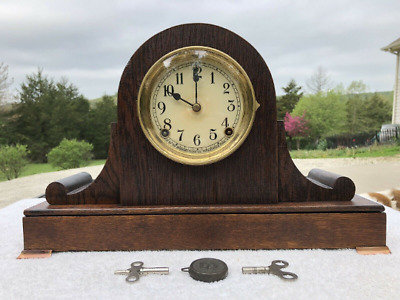 1920's Antique Sessions Mantel Shelf Clock Working Correctly In Oak