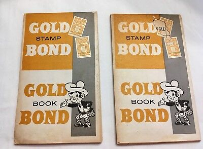 2 Vintage Gold Bond Trading Stamp Books Never Used, great collectible 1960's