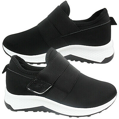 Womens Ladies Low Wedge Touch Strap Work Gym Trainers Sneakers Shoes Pumps Size