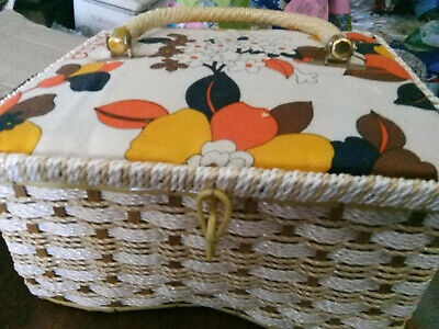Vintage Large Sewing Basket Buttons Fabric Scraps