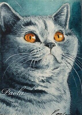 ACEO ORIGINAL watercolour painting Grey Cat portrait animal miniature art card