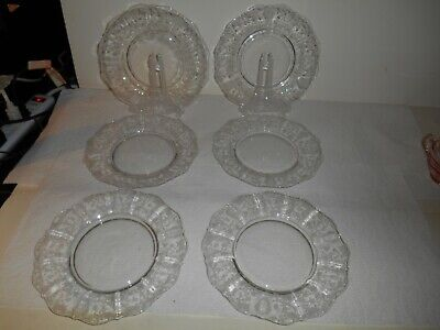 """Stunning Set of 6 Cambridge Crystal Rose Point Pattern Etched 8"""" Plates"""