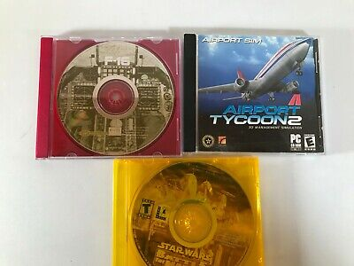 Lot of 3  PC Games - airport tycoon, f-16 Aggressor, star wars battle for nambo