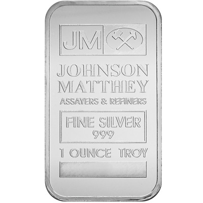 1 oz Johnson Matthey Silver Bar | .999 Fine Silver | Mint Sealed