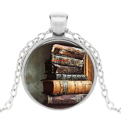 Stack Of Antique Books Photo Tibet Silver Cabochon Glass Pendant Chain Necklace