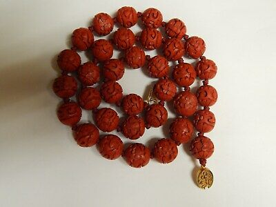 "Antique , Vintage  Chinese  Red  Cinnabar Beads Carved With Flowers 26"" Necklace"
