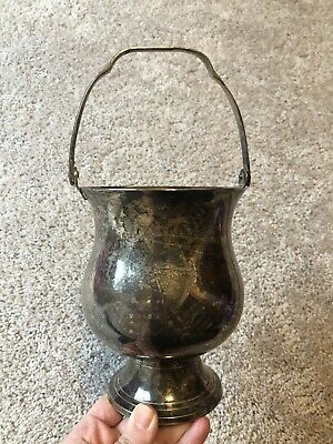 Vintage International Silver Co Ice Bucket Wine Pail Patina