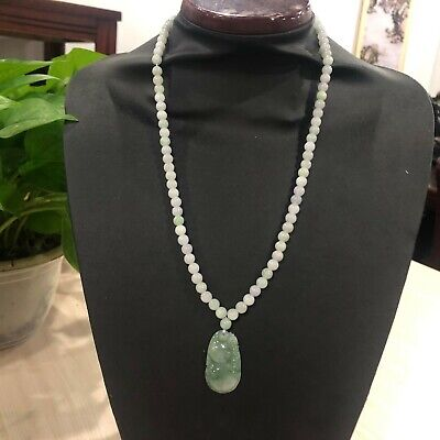 100% Natural A Jade Jadeite Round beads Sweater Necklace / Green Gourd Pendant
