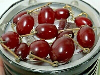 Beautiful Old Cherry Amber Bakelite Faturan Interest Necklace Art Deco Very Rare