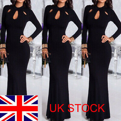 UK Women Fishtail Prom Dress Evening Party Formal Ball Gown Long Maxi Dress Sexy
