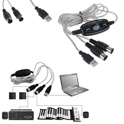 MIDI USB IN-OUT Interface Cable Converter Cord Line PC to Music Keyboard Adapter