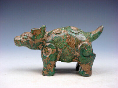 Old Nephrite Jade Stone Carved Sculpture Ancient Ox Standing #09241905