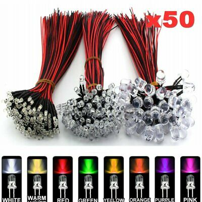 50pcs 3mm 5mm 10mm Single Colour Pre-wired 20cm LED Bulb Emitting Diodes DC 12V