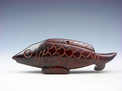 Old Nephrite Jade Stone Carved Sculpture Ancient Fish #10081905