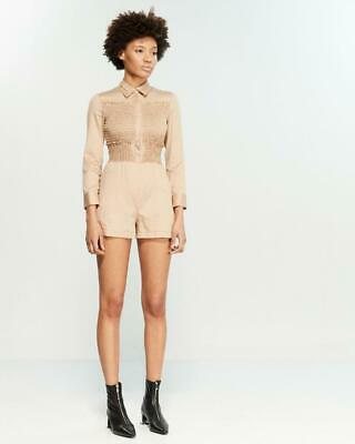 NWT Maje 'Beige Sable' 'Smokee' Smocked Long Sleeved Romper Size 36/US 0 $340