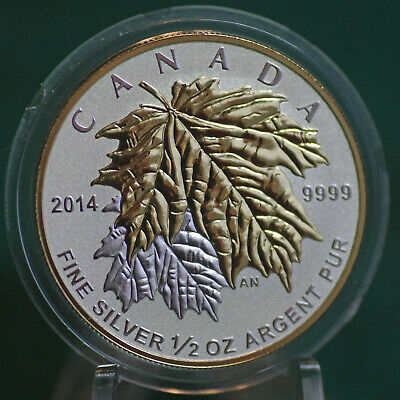2014 CANADA $4 Silver Maple Leaf 1/2 oz Reverse proof from Fractional set