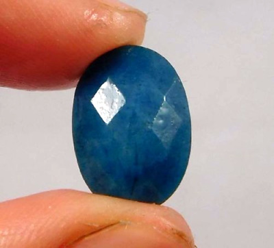 Dyed Faceted Blue Sapphire Cut Loose Gemstone  5.5ct 13x9mm  W460