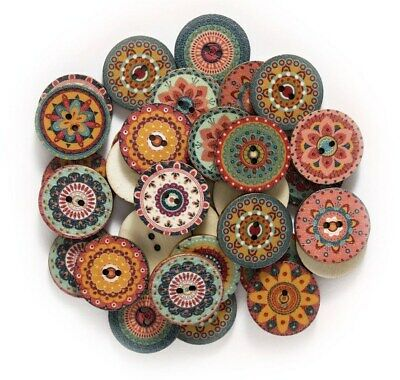 Vintage Retro Design Wooden Buttons 20mm - Pack of 5