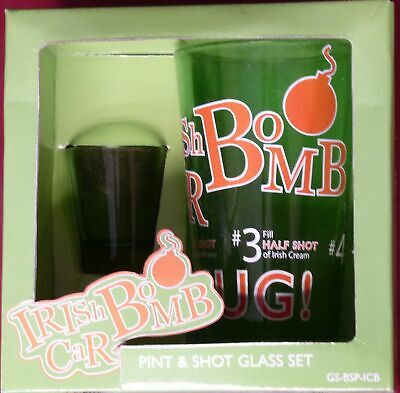 PINT & SHOT GLASS SET GS-BSP-ICB Irish Car Bomb Recipe Novelty Gift Set NEW