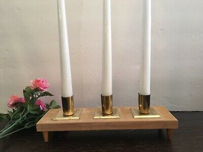 Mid Century Rothchild Giftwoods Taper Candle Holder Wood Brass Vintage Walnut