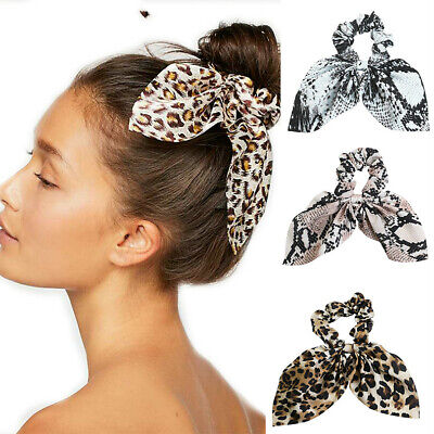 Girls Ladies Fashion Leopard Print Elastic Hair Ropes Headdress Pom Party New