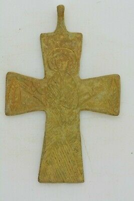 Byzantine bronze cross Virgin Mary raised hands 10th century AD.