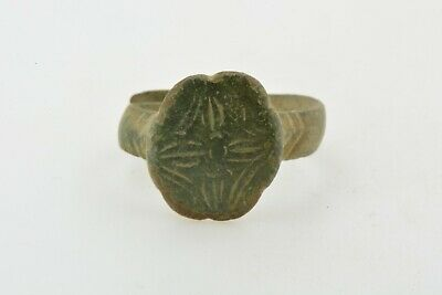 Byzantine Medieval Crusader Templar bronze ring CROSS 9-12th century AD Sz 6 1/4