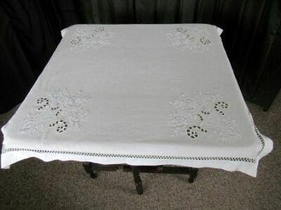 Pretty Tablecloth - Embroidered Decoration  - All White