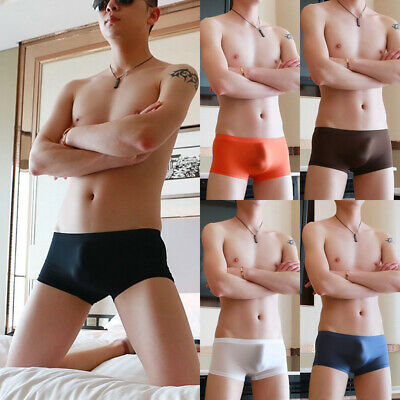 US Men's Sheer See Through Boxer Briefs Mesh Underwear Shorts Trunks Underpants