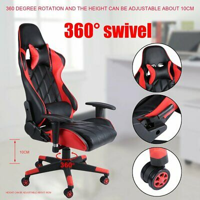 Gaming Racing Chair Adjustable Executive Office PC Recliner Swivel Wheel Pillow