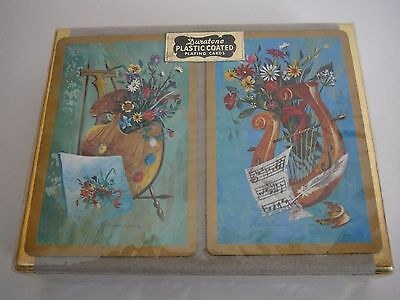 Vintage Playing cards Sealed Duratone Two Packs Plastic Coated Collectable