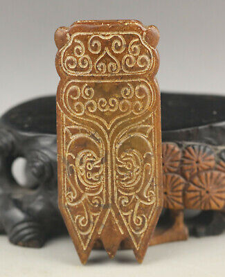 Old Chinese natural jade hand-carved cicada pendant
