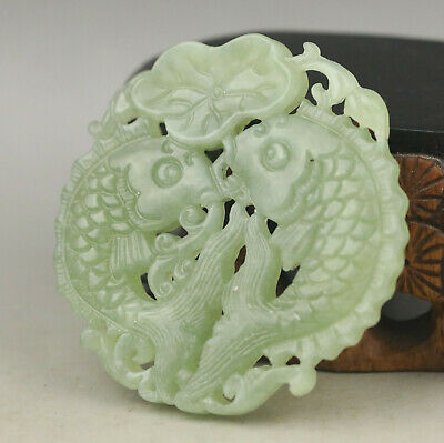 Old Chinese natural jade hand-carved double fish pendant