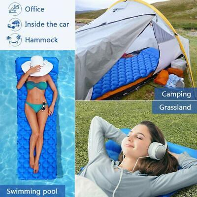 Ultralight Inflatable Sleeping Mat Camping Air Pad Roll Bed Mattress With-Pillow