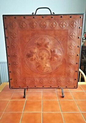 Hide/Leather Covered Fire Screen. Gothic/Medieval Revival. 1850-80.