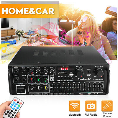 2000W Pro Bluetooth HiFi Power Amplifier Stereo Surround Amp Karaoke FM Home Car