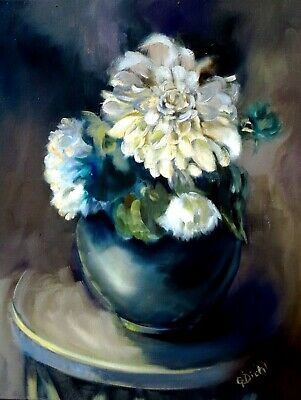 "Floral Still Life Realism Oil Painting Original Fine Art 16""x20"" Canvas Signed"
